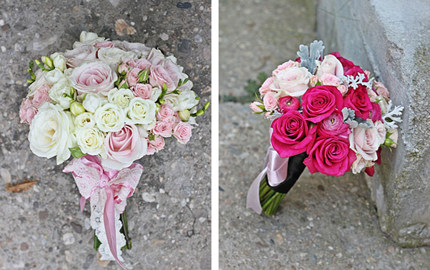 Aranjament floral cu trandafiri in nuante de roz